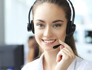 Customer service rep with headset