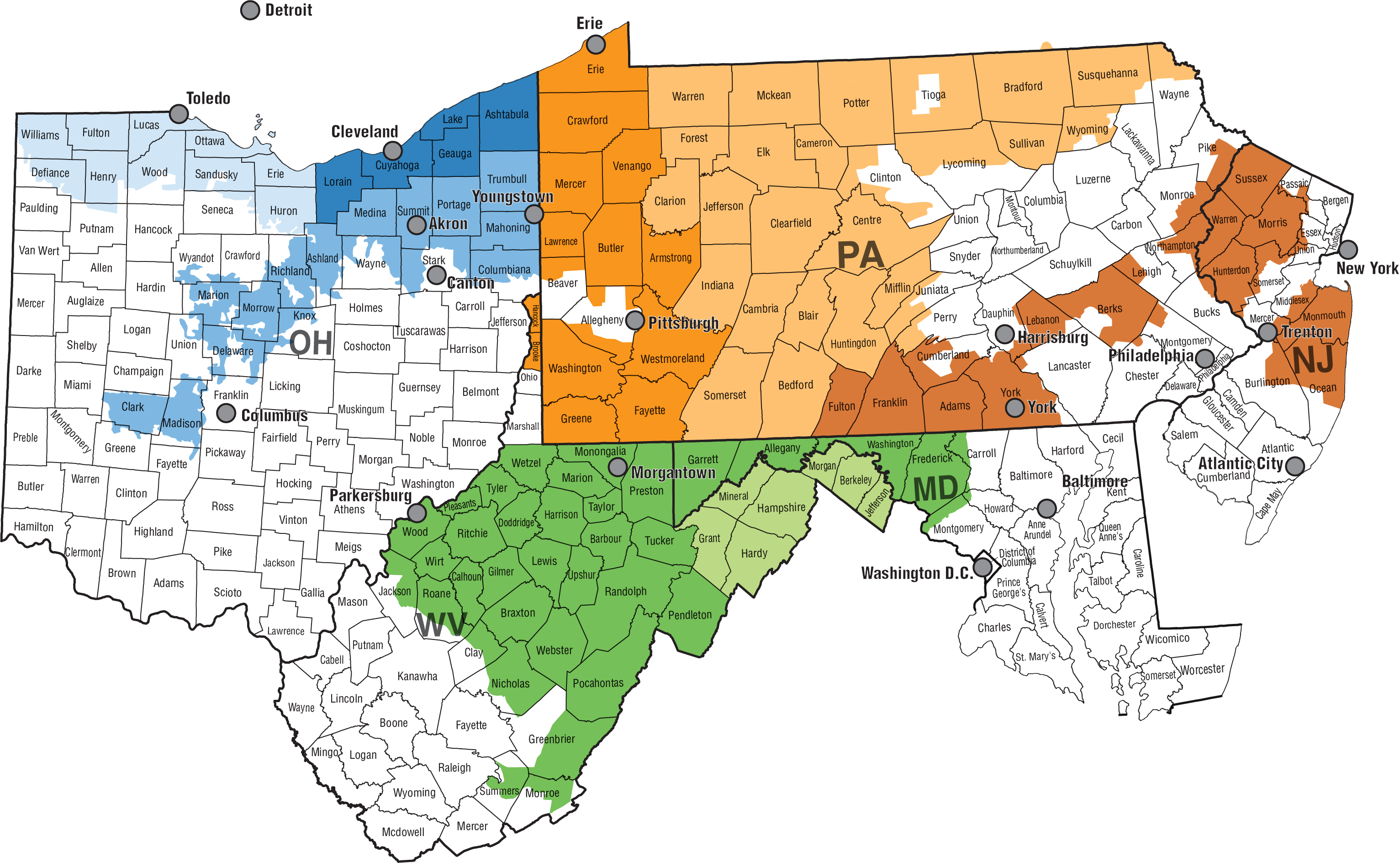 Map of FirstEnergy Service Territory
