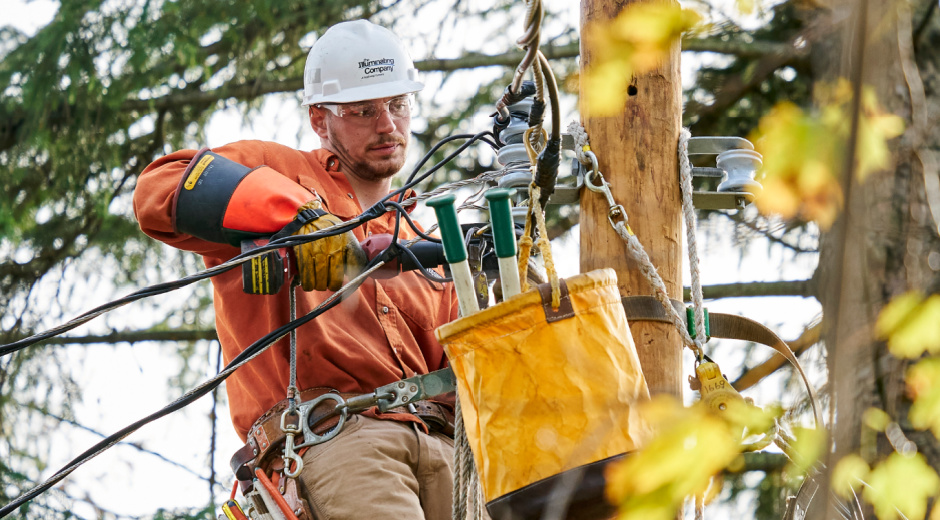 line worker performs enhancements
