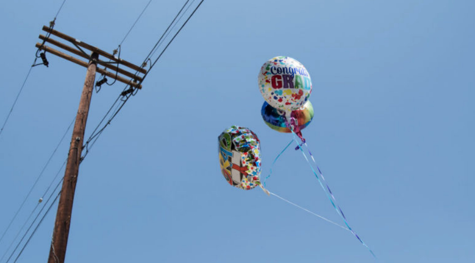 Balloons near power lines