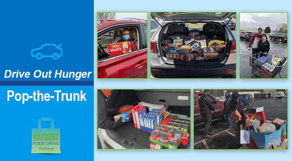 Collage of Pop-the-Trunk drive through donation event.